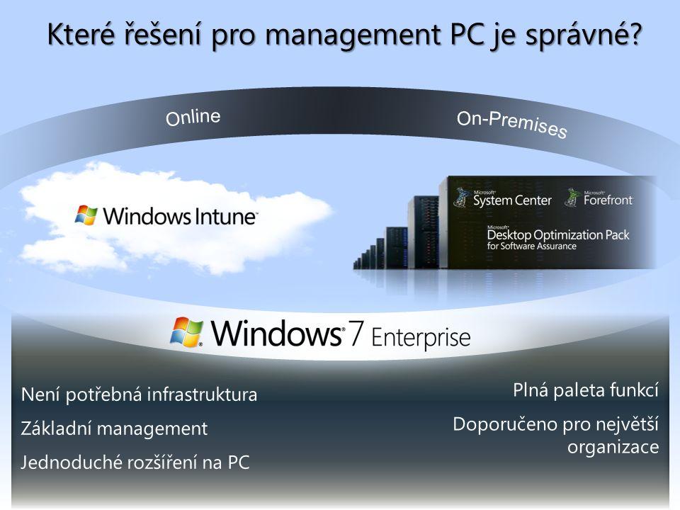 Není potřebná infrastruktura Základní management Jednoduché rozšíření na PC Plná paleta funkcí Doporučeno pro největší organizace Které řešení pro management PC je správné