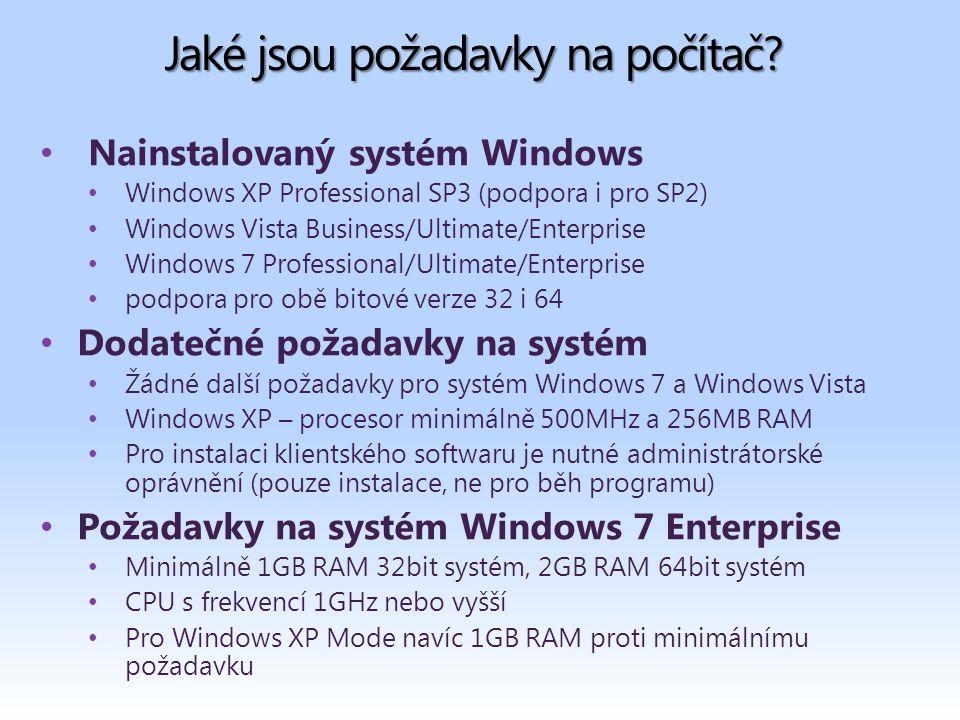 Jaké jsou požadavky na počítač.