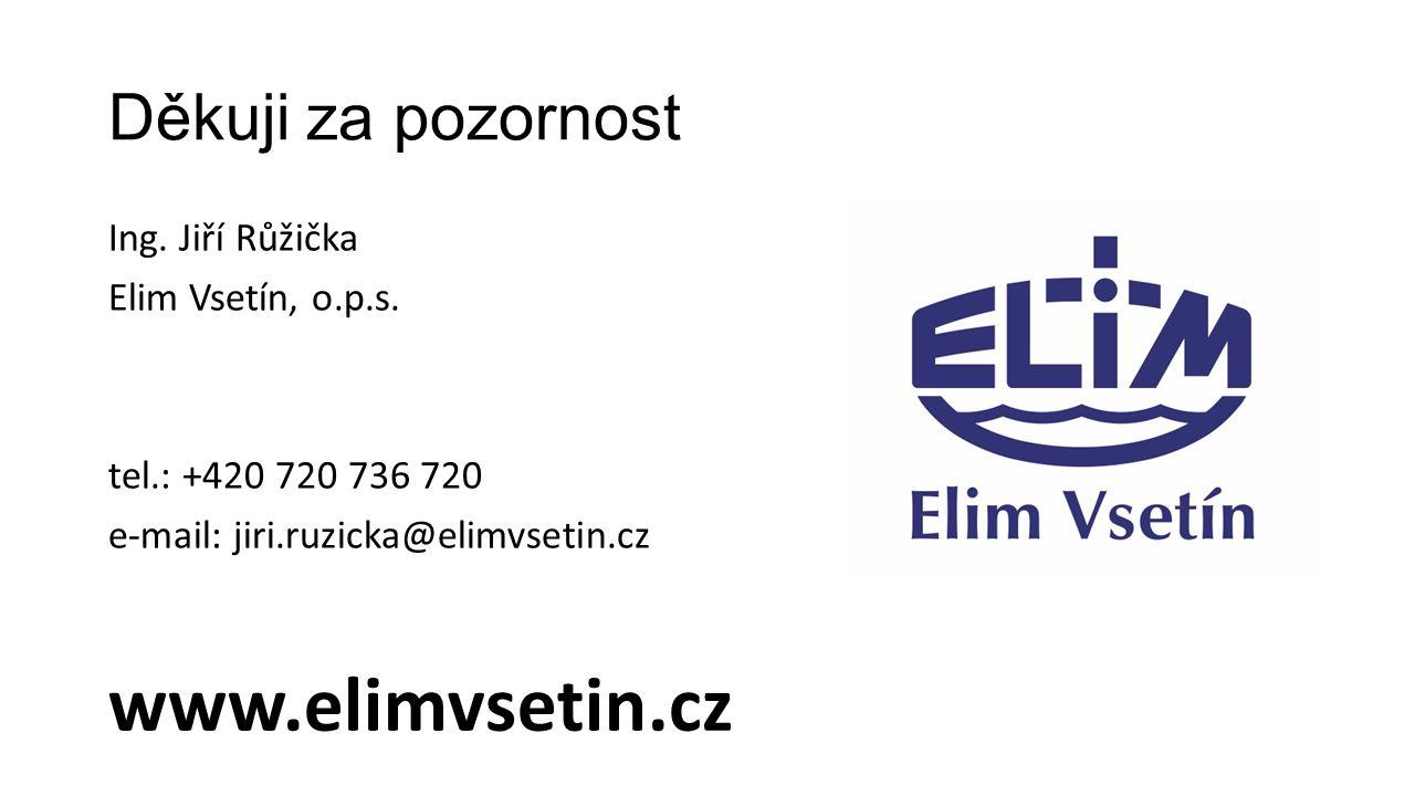 Děkuji za pozornost Ing. Jiří Růžička Elim Vsetín, o.p.s. tel.: +420 720 736 720 e-mail: jiri.ruzicka@elimvsetin.cz www.elimvsetin.cz