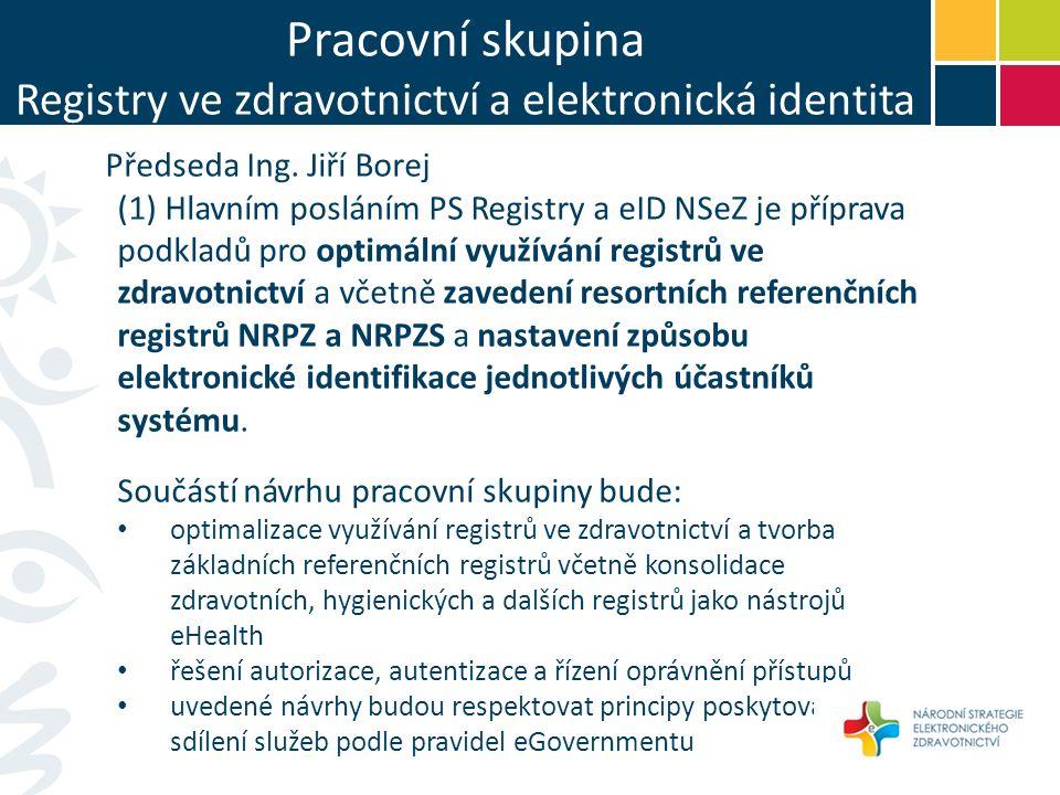 Pracovní skupina Registry ve zdravotnictví a elektronická identita Předseda Ing.