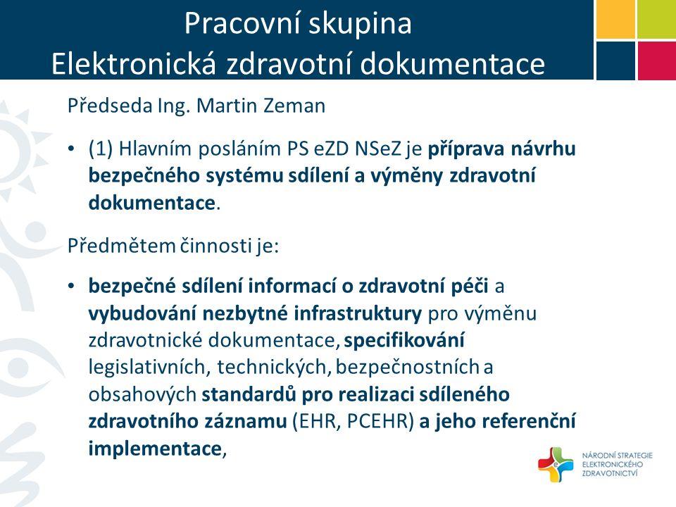 Pracovní skupina Elektronická zdravotní dokumentace Předseda Ing.