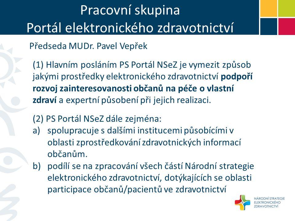 Pracovní skupina Portál elektronického zdravotnictví Předseda MUDr.