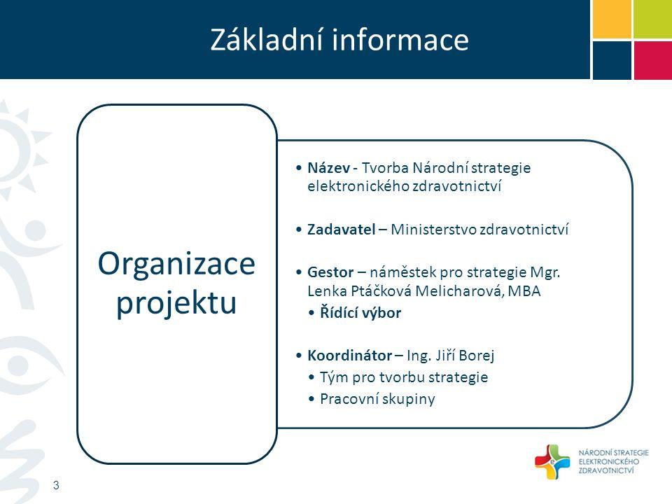 Základní informace Název - Tvorba Národní strategie elektronického zdravotnictví Zadavatel – Ministerstvo zdravotnictví Gestor – náměstek pro strategie Mgr.