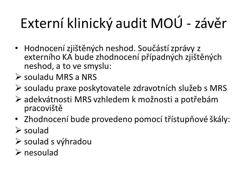 Externí klinický audit MOÚ - závěr Hodnocení zjištěných neshod.