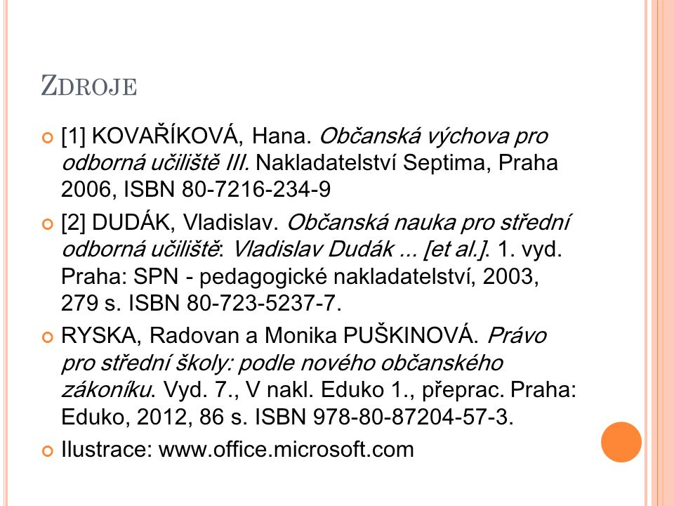 Z DROJE [1] KOVAŘÍKOVÁ, Hana. Občanská výchova pro odborná učiliště III. Nakladatelství Septima, Praha 2006, ISBN 80-7216-234-9 [2] DUDÁK, Vladislav.