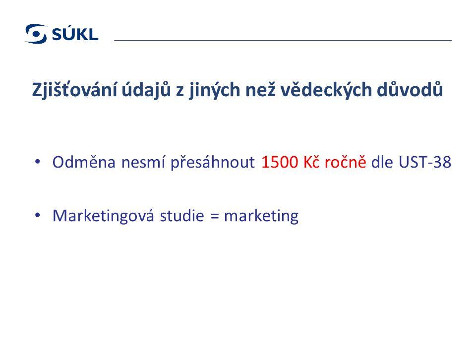Zjišťování údajů z jiných než vědeckých důvodů Odměna nesmí přesáhnout 1500 Kč ročně dle UST-38 Marketingová studie = marketing