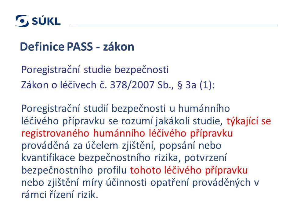 Definice PASS - zákon Poregistrační studie bezpečnosti Zákon o léčivech č.