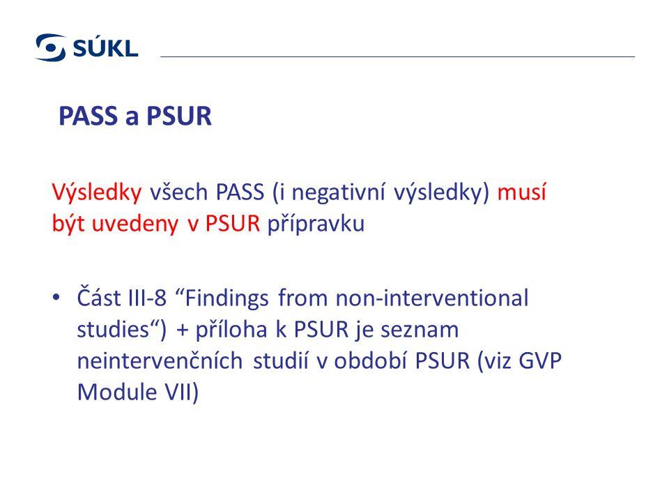 PASS a PSUR Výsledky všech PASS (i negativní výsledky) musí být uvedeny v PSUR přípravku Část III-8 Findings from non-interventional studies ) + příloha k PSUR je seznam neintervenčních studií v období PSUR (viz GVP Module VII)