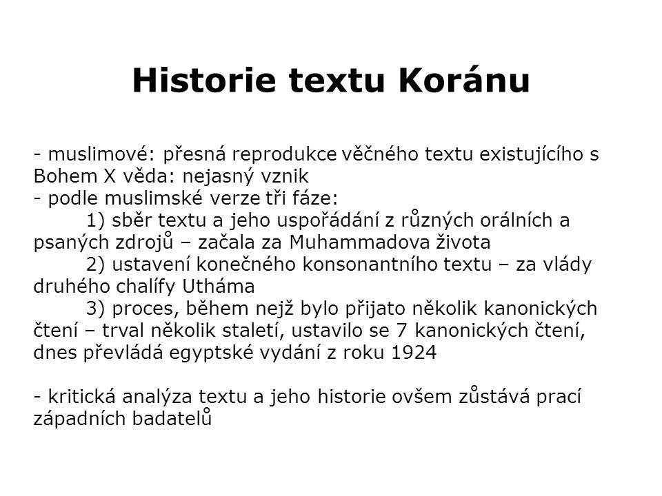 Historie textu Koránu verze 1 - první redakce Koránu – období 1.