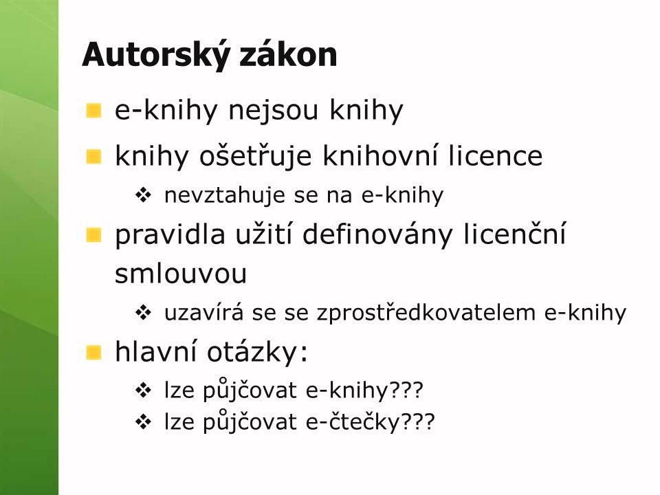 Autorský zákon e-knihy nejsou knihy knihy ošetřuje knihovní licence  nevztahuje se na e-knihy pravidla užití definovány licenční smlouvou  uzavírá se se zprostředkovatelem e-knihy hlavní otázky:  lze půjčovat e-knihy .