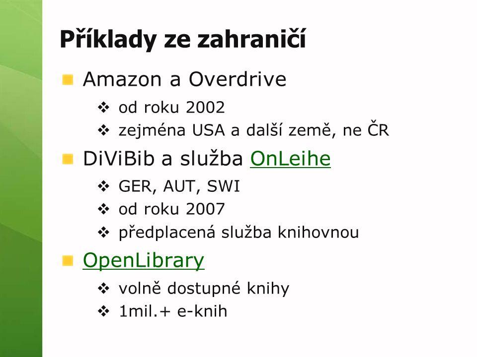 Příklady ze zahraničí Amazon a Overdrive  od roku 2002  zejména USA a další země, ne ČR DiViBib a služba OnLeiheOnLeihe  GER, AUT, SWI  od roku 2007  předplacená služba knihovnou OpenLibrary  volně dostupné knihy  1mil.+ e-knih
