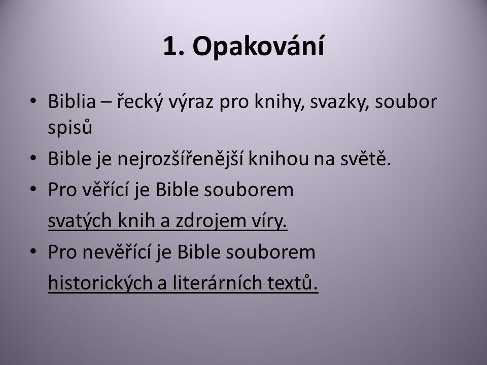 1. Opakování Biblia – řecký výraz pro knihy, svazky, soubor spisů Bible je nejrozšířenější knihou na světě. Pro věřící je Bible souborem svatých knih