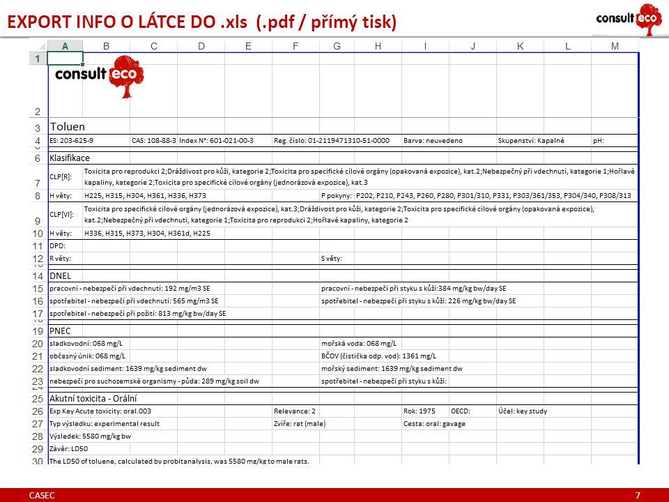 EXPORT INFO O LÁTCE DO.xls (.pdf / přímý tisk) CASEC 7