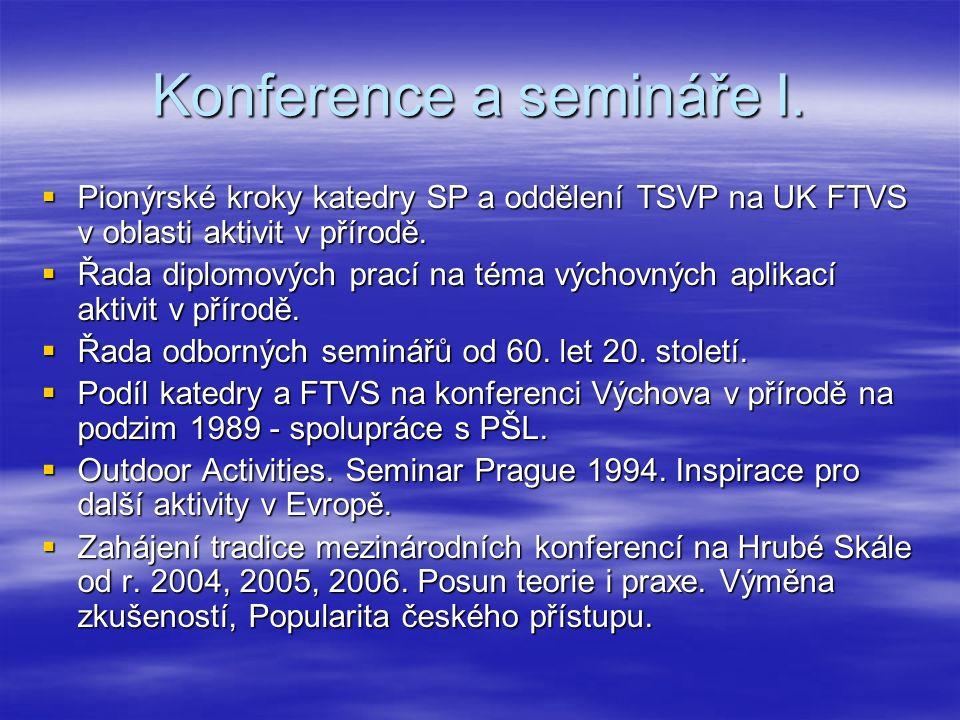Konference a semináře I.  Pionýrské kroky katedry SP a oddělení TSVP na UK FTVS v oblasti aktivit v přírodě.  Řada diplomových prací na téma výchovn