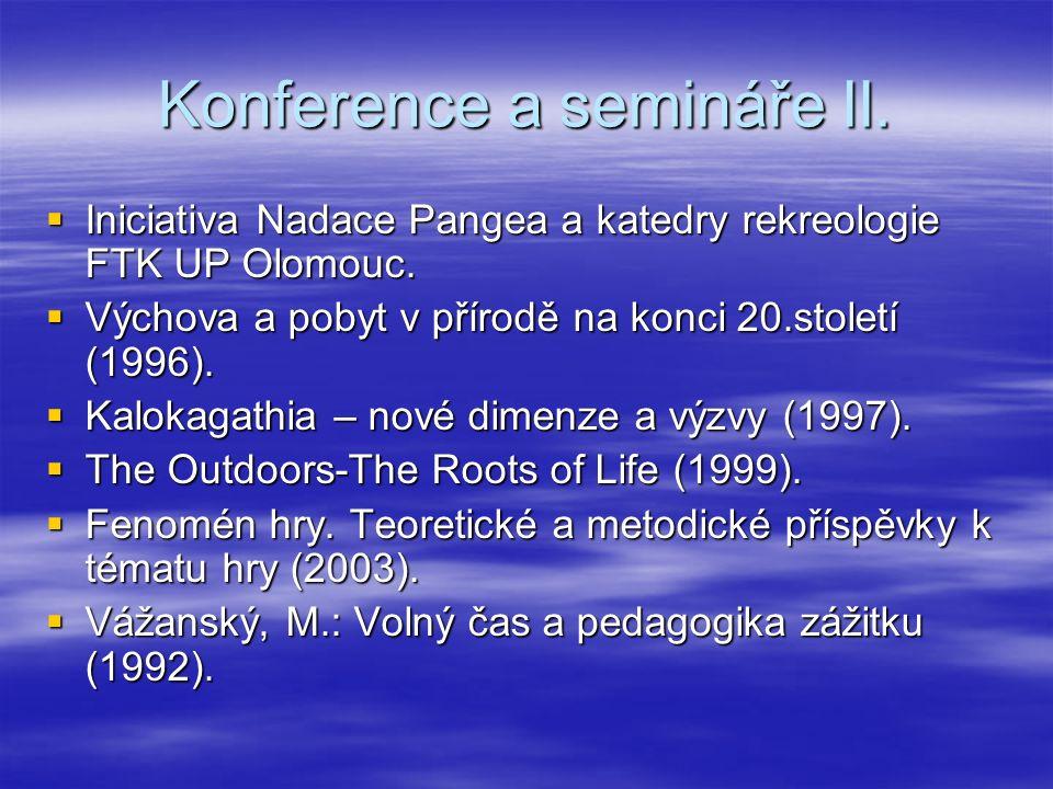 Konference a semináře II.  Iniciativa Nadace Pangea a katedry rekreologie FTK UP Olomouc.  Výchova a pobyt v přírodě na konci 20.století (1996).  K
