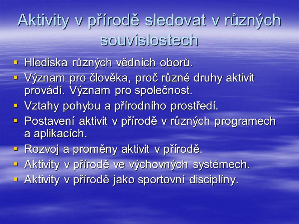 Aktivity v přírodě sledovat v různých souvislostech  Hlediska různých vědních oborů.  Význam pro člověka, proč různé druhy aktivit provádí. Význam p