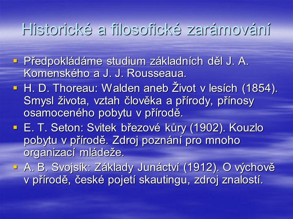 Historické a filosofické zarámování  Předpokládáme studium základních děl J. A. Komenského a J. J. Rousseaua.  H. D. Thoreau: Walden aneb Život v le