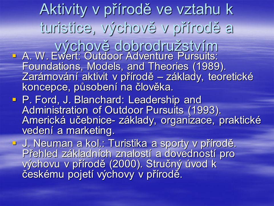 Aktivity v přírodě ve vztahu k turistice, výchově v přírodě a výchově dobrodružstvím  A. W. Ewert: Outdoor Adventure Pursuits: Foundations, Models, a