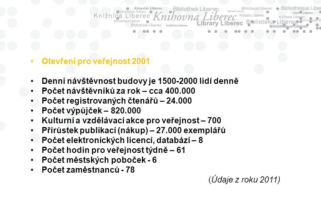 Otevření pro veřejnost 2001 Denní návštěvnost budovy je 1500-2000 lidí denně Počet návštěvníků za rok – cca 400.000 Počet registrovaných čtenářů – 24.000 Počet výpůjček – 820.000 Kulturní a vzdělávací akce pro veřejnost – 700 Přírůstek publikací (nákup) – 27.000 exemplářů Počet elektronických licencí, databází – 8 Počet hodin pro veřejnost týdně – 61 Počet městských poboček - 6 Počet zaměstnanců - 78 (Údaje z roku 2011)