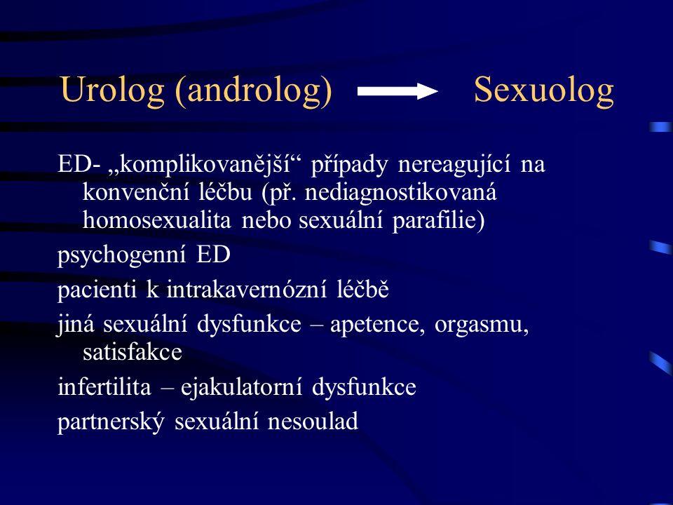 """Urolog (androlog) Sexuolog ED- """"komplikovanější případy nereagující na konvenční léčbu (př."""