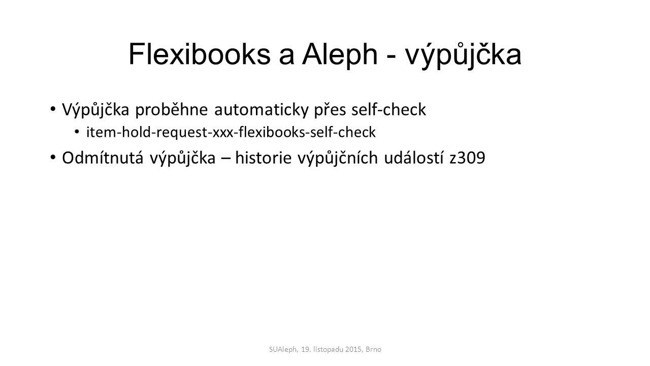 Flexibooks a Aleph - výpůjčka Výpůjčka proběhne automaticky přes self-check item-hold-request-xxx-flexibooks-self-check Odmítnutá výpůjčka – historie výpůjčních událostí z309 SUAleph, 19.