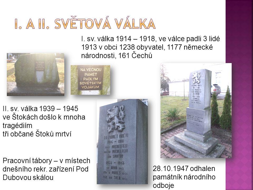 Pracovní tábory – v místech dnešního rekr. zařízení Pod Dubovou skálou 28.10.1947 odhalen památník národního odboje I. sv. válka 1914 – 1918, ve válce