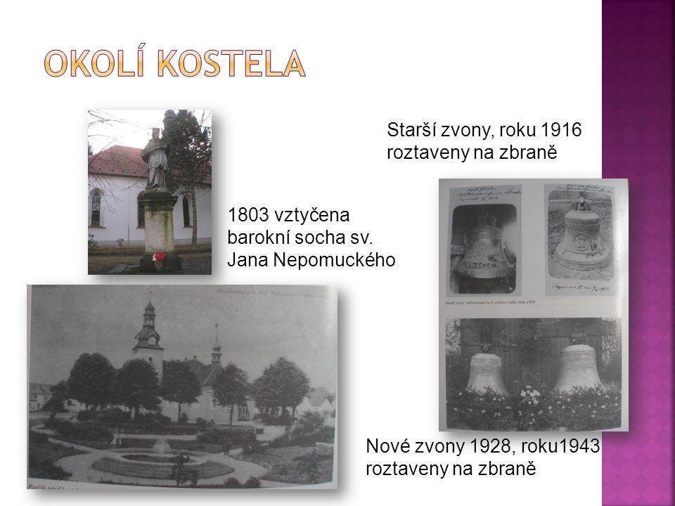 1803 vztyčena barokní socha sv. Jana Nepomuckého Starší zvony, roku 1916 roztaveny na zbraně Nové zvony 1928, roku1943 roztaveny na zbraně