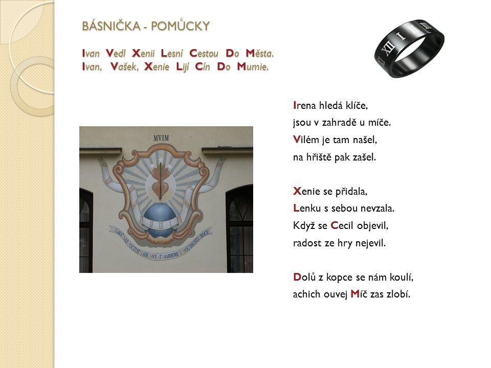 BÁSNIČKA - POMŮCKY Ivan Vedl Xenii Lesní Cestou Do Města. Ivan, Vašek, Xenie Lijí Cín Do Mumie. Irena hledá klíče, jsou v zahradě u míče. Vilém je tam