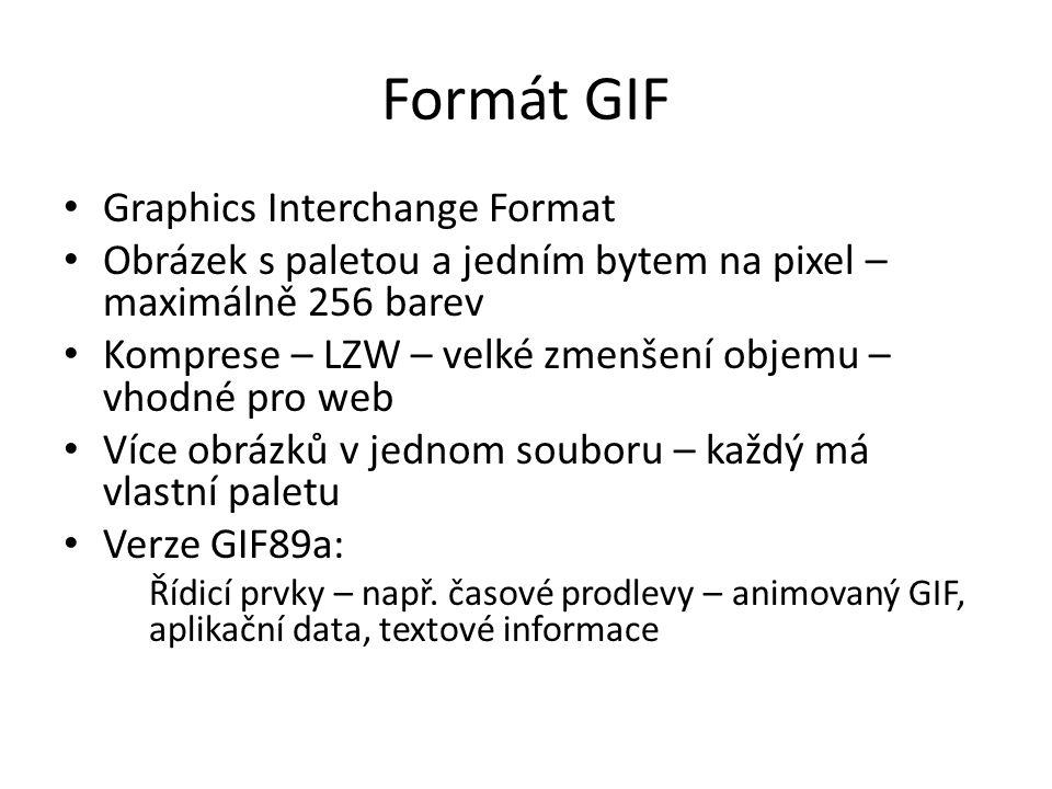 Formát GIF Graphics Interchange Format Obrázek s paletou a jedním bytem na pixel – maximálně 256 barev Komprese – LZW – velké zmenšení objemu – vhodné