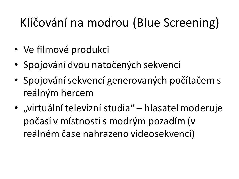 Klíčování na modrou (Blue Screening) Ve filmové produkci Spojování dvou natočených sekvencí Spojování sekvencí generovaných počítačem s reálným hercem