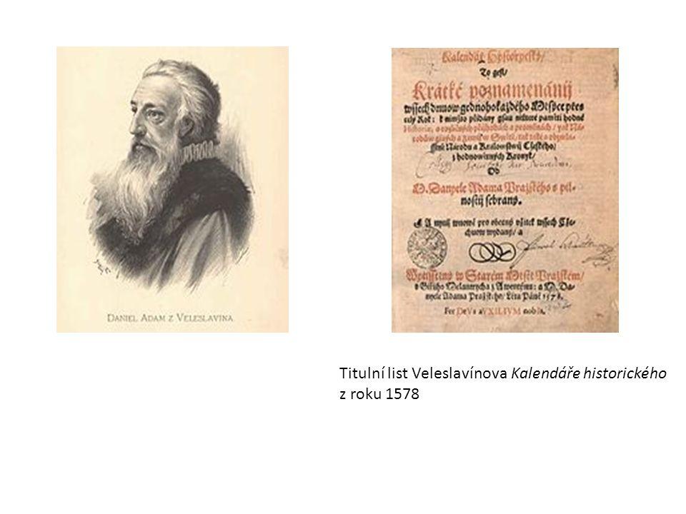 Titulní list Veleslavínova Kalendáře historického z roku 1578