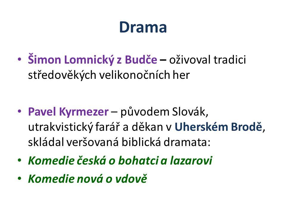 Drama Šimon Lomnický z Budče – oživoval tradici středověkých velikonočních her Pavel Kyrmezer – původem Slovák, utrakvistický farář a děkan v Uherském