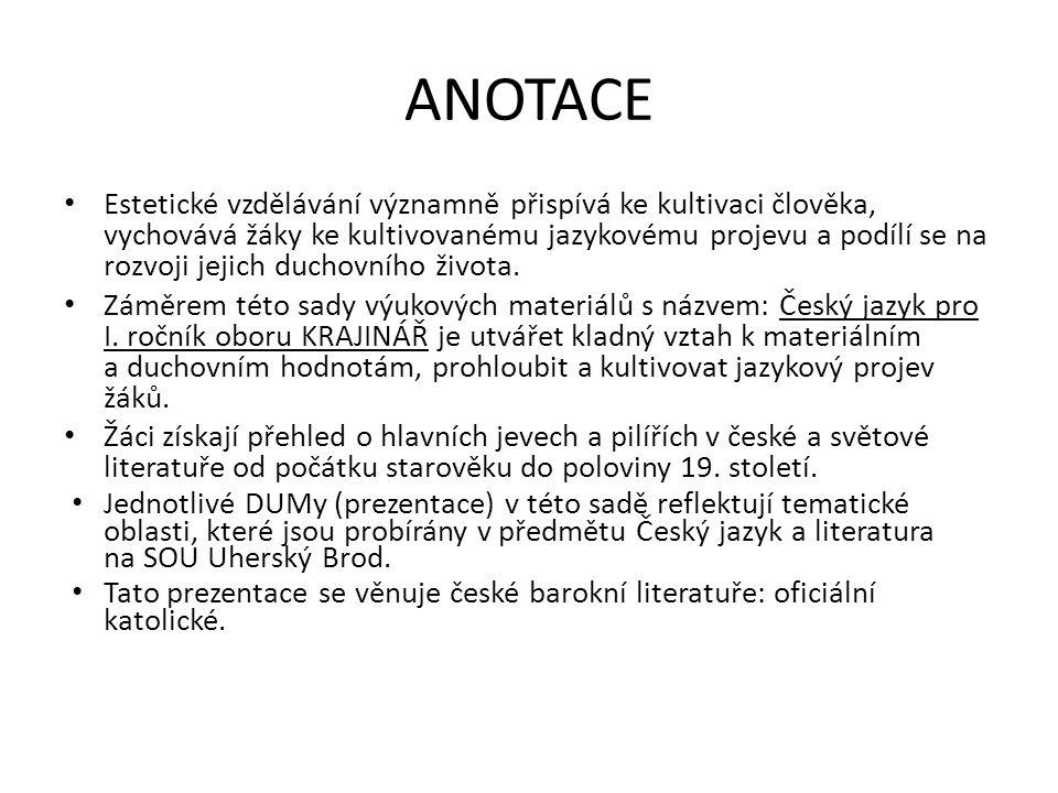 České baroko Oficiální katolická literatura