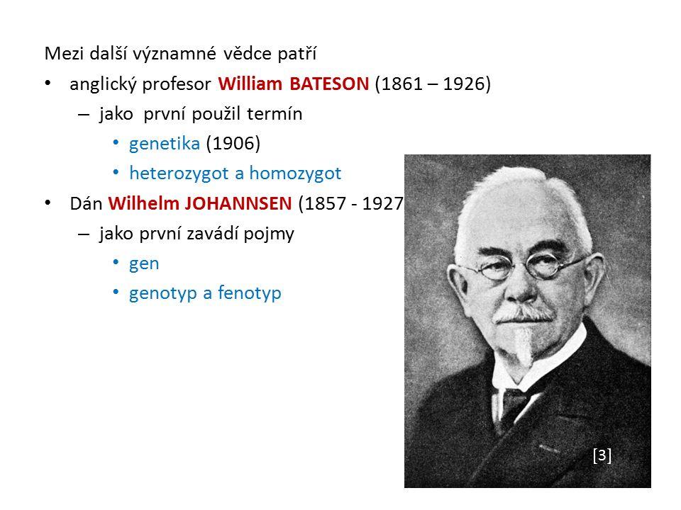 Mezi další významné vědce patří anglický profesor William BATESON (1861 – 1926) – jako první použil termín genetika (1906) heterozygot a homozygot Dán Wilhelm JOHANNSEN (1857 - 1927) – jako první zavádí pojmy gen genotyp a fenotyp 33