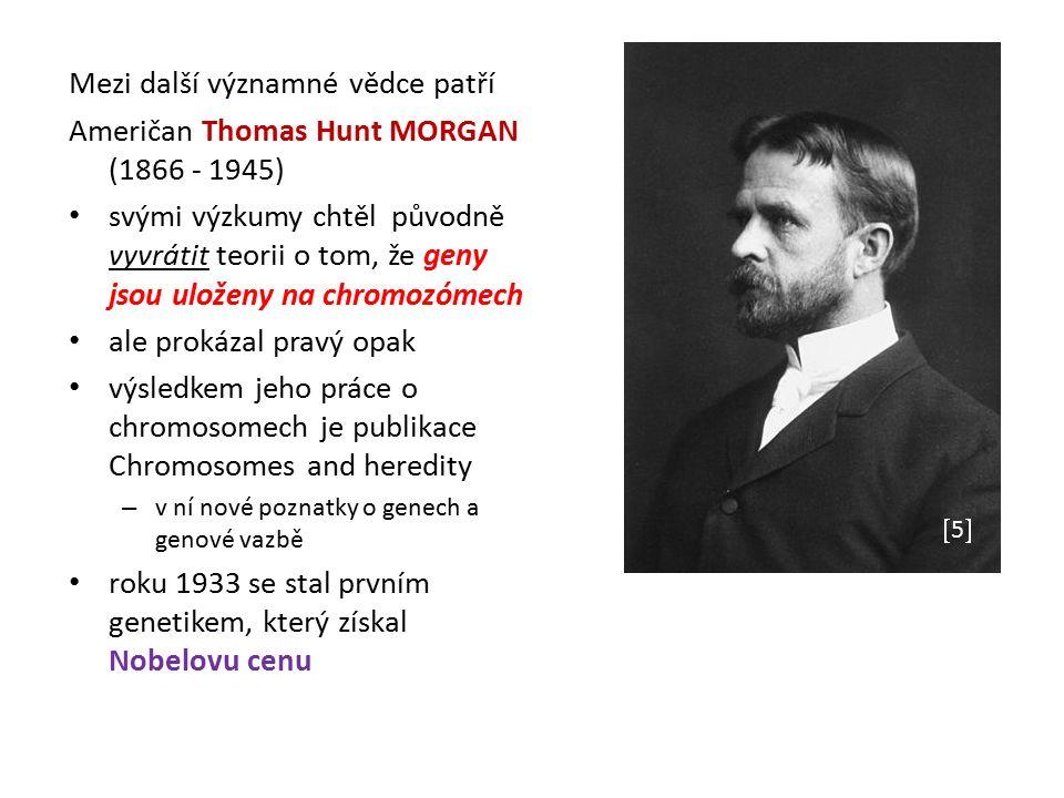 Mezi další významné vědce patří Američan Thomas Hunt MORGAN (1866 - 1945) svými výzkumy chtěl původně vyvrátit teorii o tom, že geny jsou uloženy na chromozómech ale prokázal pravý opak výsledkem jeho práce o chromosomech je publikace Chromosomes and heredity – v ní nové poznatky o genech a genové vazbě roku 1933 se stal prvním genetikem, který získal Nobelovu cenu 33 44 55