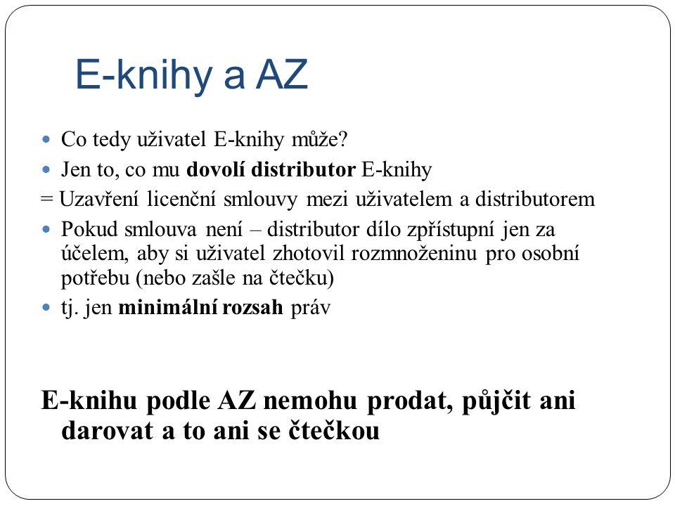 E-knihy a AZ Co tedy uživatel E-knihy může? Jen to, co mu dovolí distributor E-knihy = Uzavření licenční smlouvy mezi uživatelem a distributorem Pokud