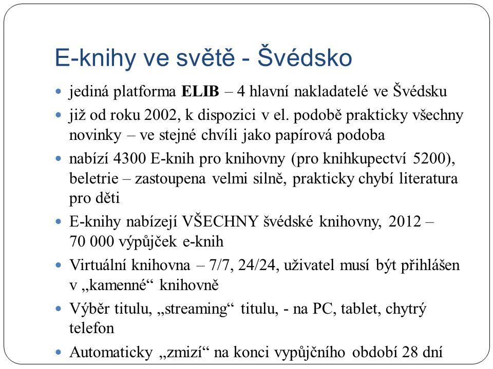E-knihy ve světě - Švédsko jediná platforma ELIB – 4 hlavní nakladatelé ve Švédsku již od roku 2002, k dispozici v el. podobě prakticky všechny novink