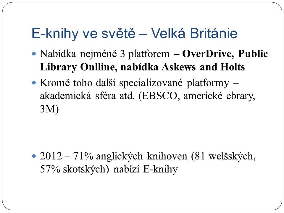 E-knihy ve světě – Velká Británie Nabídka nejméně 3 platforem – OverDrive, Public Library Onlline, nabídka Askews and Holts Kromě toho další specializované platformy – akademická sféra atd.