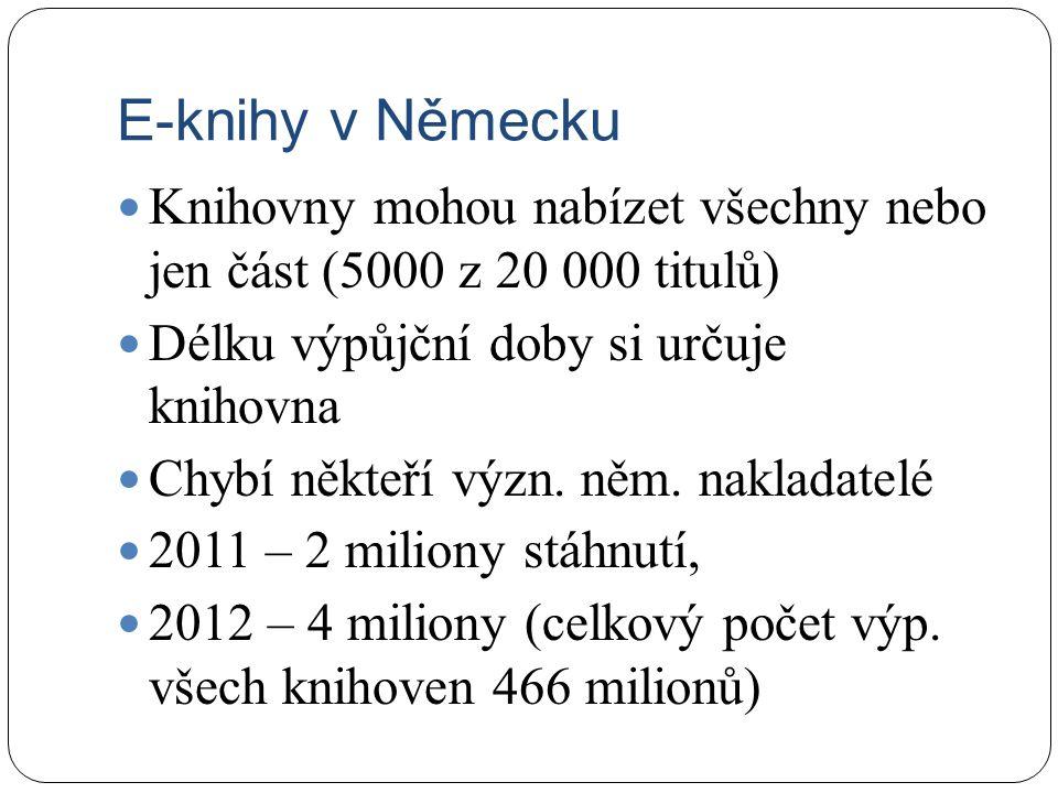E-knihy v Německu Knihovny mohou nabízet všechny nebo jen část (5000 z 20 000 titulů) Délku výpůjční doby si určuje knihovna Chybí někteří význ. něm.
