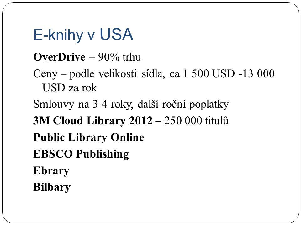 E-knihy v USA OverDrive – 90% trhu Ceny – podle velikosti sídla, ca 1 500 USD -13 000 USD za rok Smlouvy na 3-4 roky, další roční poplatky 3M Cloud Library 2012 – 250 000 titulů Public Library Online EBSCO Publishing Ebrary Bilbary