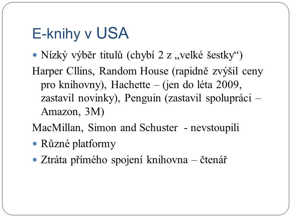 """E-knihy v USA Nízký výběr titulů (chybí 2 z """"velké šestky ) Harper Cllins, Random House (rapidně zvýšil ceny pro knihovny), Hachette – (jen do léta 2009, zastavil novinky), Penguin (zastavil spolupráci – Amazon, 3M) MacMillan, Simon and Schuster - nevstoupili Různé platformy Ztráta přímého spojení knihovna – čtenář"""