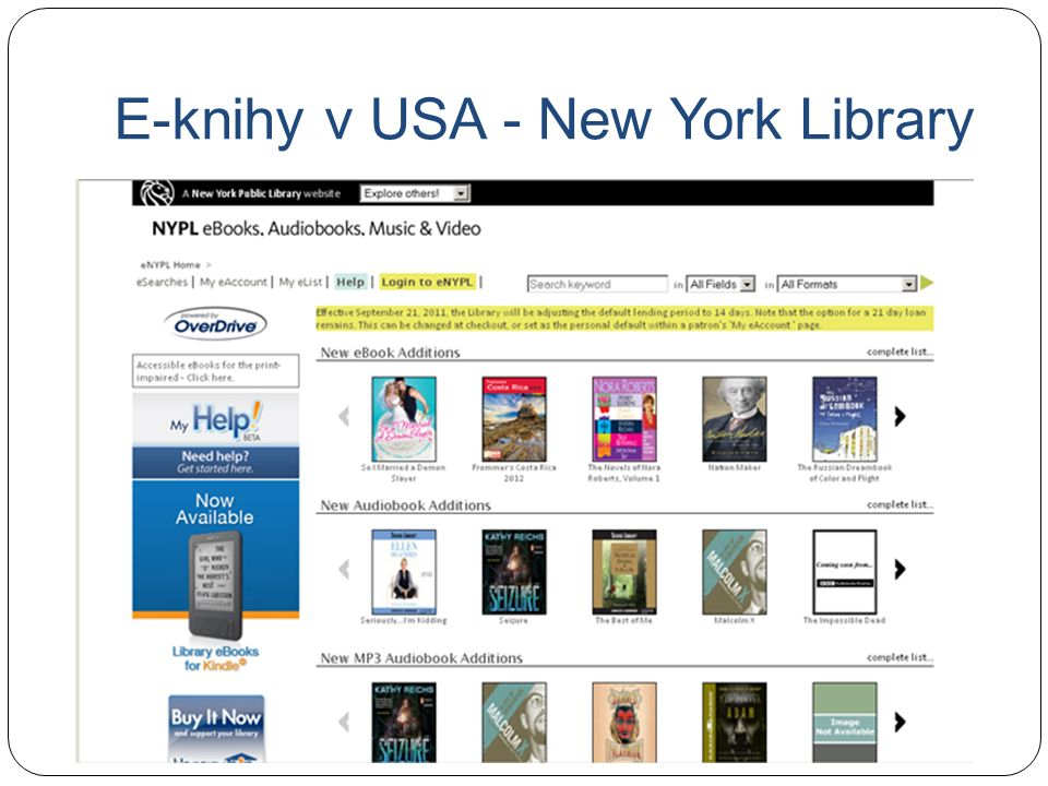 E-knihy v USA - New York Library