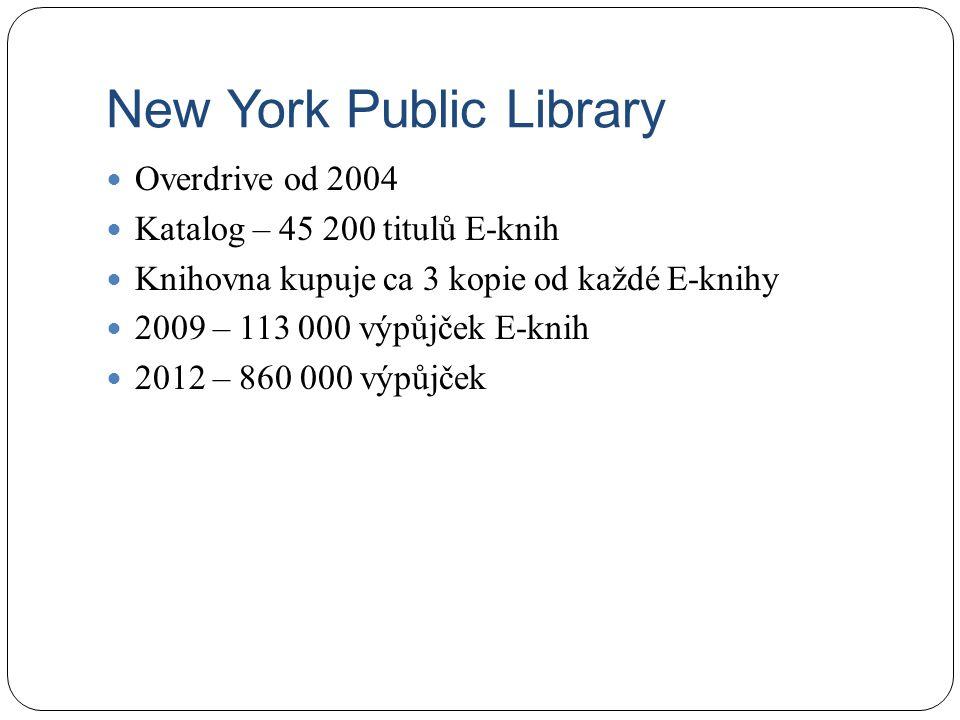 New York Public Library Overdrive od 2004 Katalog – 45 200 titulů E-knih Knihovna kupuje ca 3 kopie od každé E-knihy 2009 – 113 000 výpůjček E-knih 2012 – 860 000 výpůjček
