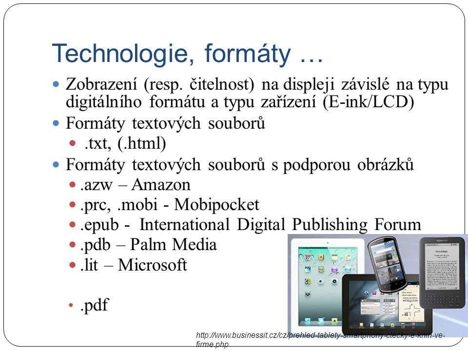 Technologie, formáty … Zobrazení (resp.