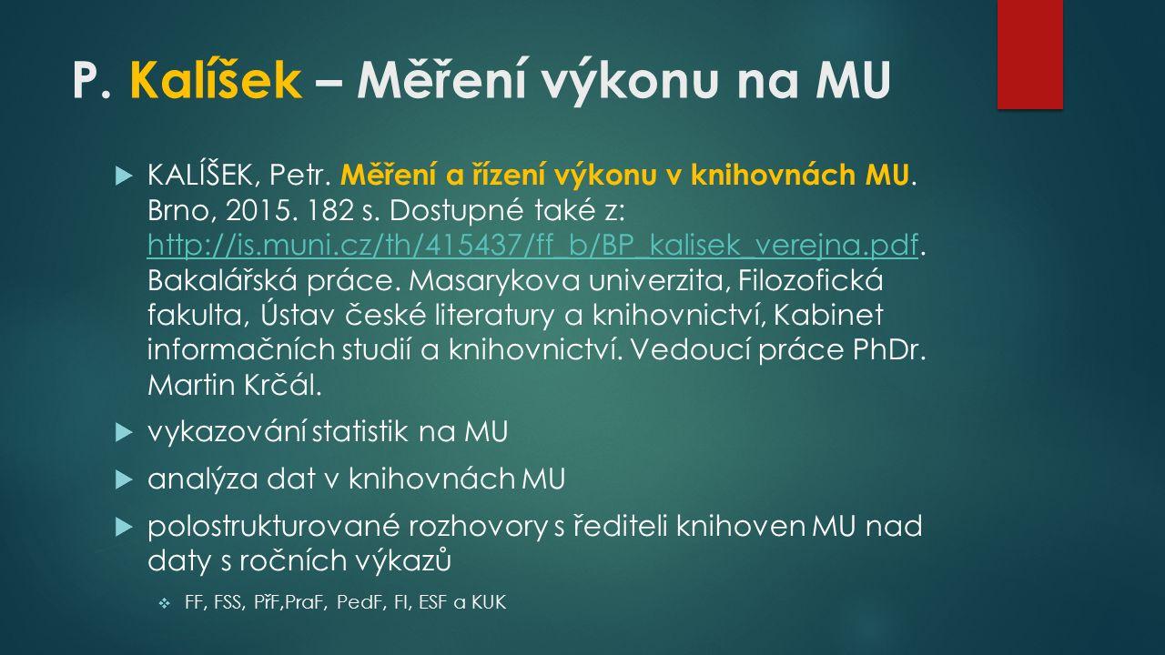 P.Kalíšek – Měření výkonu na MU  KALÍŠEK, Petr. Měření a řízení výkonu v knihovnách MU.