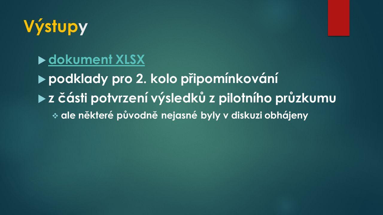 Výstupy  dokument XLSX dokument XLSX  podklady pro 2.