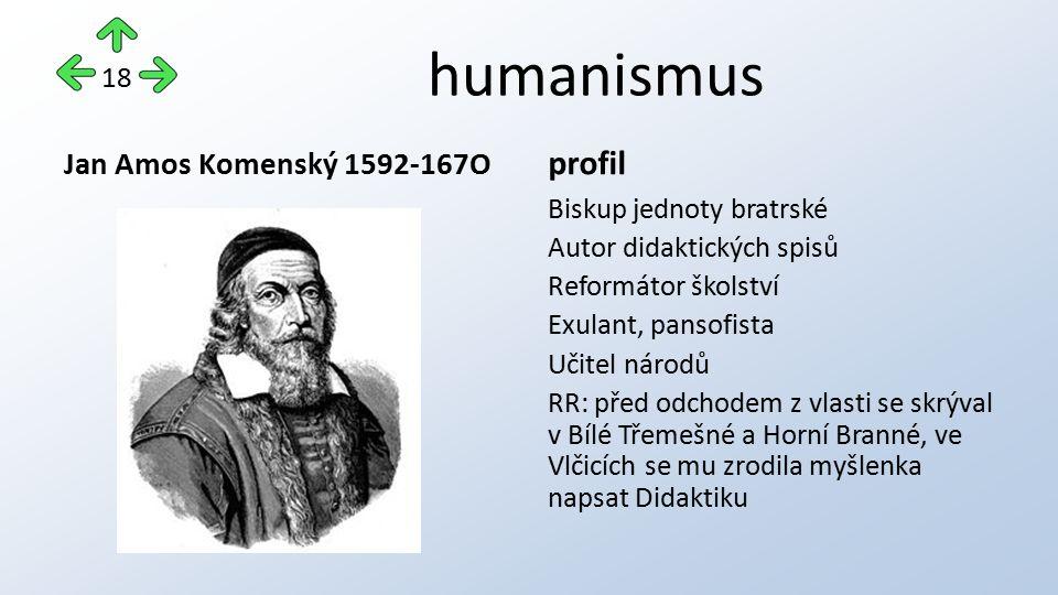 humanismus Jan Amos Komenský 1592-167O profil Biskup jednoty bratrské Autor didaktických spisů Reformátor školství Exulant, pansofista Učitel národů R