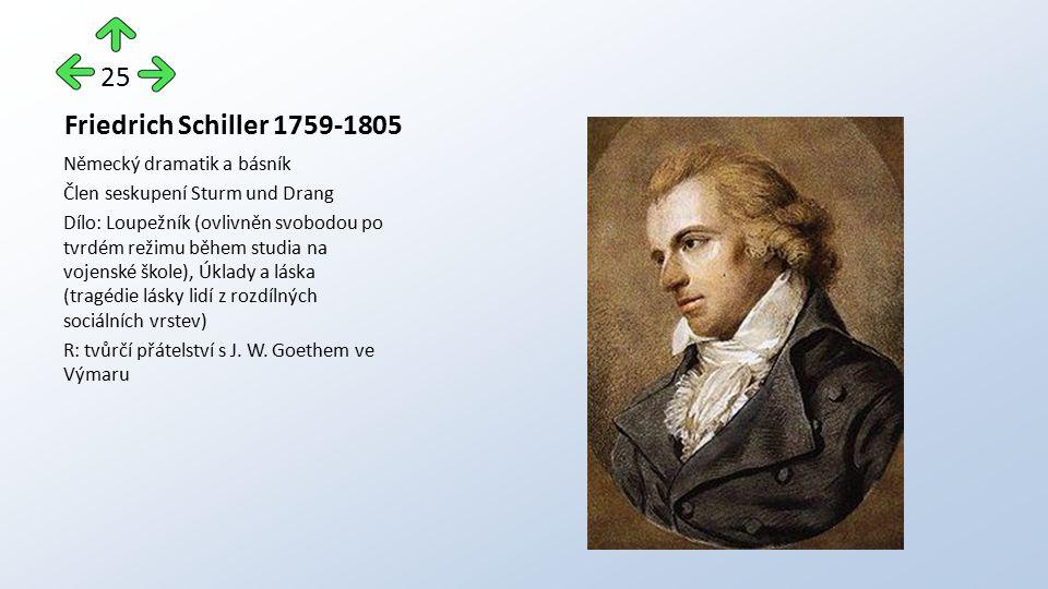 Friedrich Schiller 1759-1805 Německý dramatik a básník Člen seskupení Sturm und Drang Dílo: Loupežník (ovlivněn svobodou po tvrdém režimu během studia