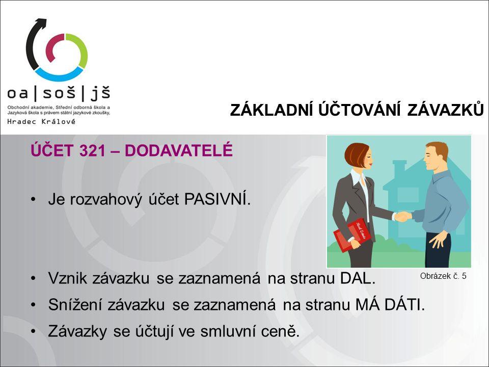 ZÁKLADNÍ ÚČTOVÁNÍ ZÁVAZKŮ ÚČET 321 – DODAVATELÉ Je rozvahový účet PASIVNÍ. Vznik závazku se zaznamená na stranu DAL. Snížení závazku se zaznamená na s