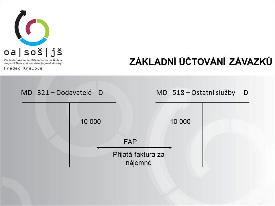 ZÁKLADNÍ ÚČTOVÁNÍ ZÁVAZKŮ 10 000 MD 321 – Dodavatelé D 10 000 MD 518 – Ostatní služby D FAP Přijatá faktura za nájemné